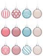 Collection Of 12 Christmas Balls Retro Color
