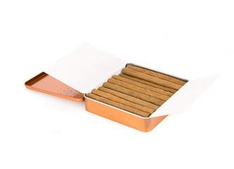 Cigarillo inside a steel box over white background.