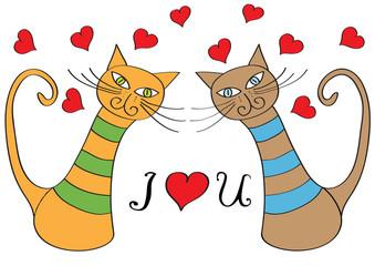 funny cartoon cats in love
