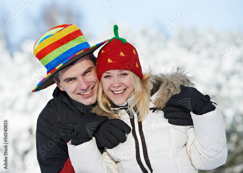 happy family couple in winter