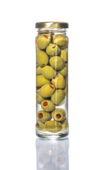 A lot of olives in a pile or glass pot