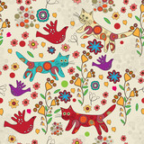 Vector folk background with cats