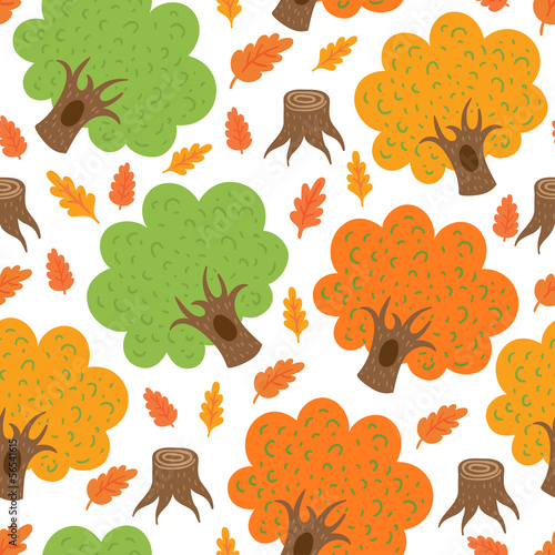 seamless pattern autumn oaks