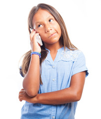 girl calling by phone on a white background