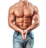Bodybuilder isolated on white