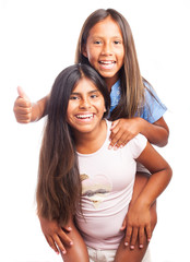 girl carrying a friend on a white background