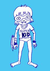 Young super hero boy cartoon