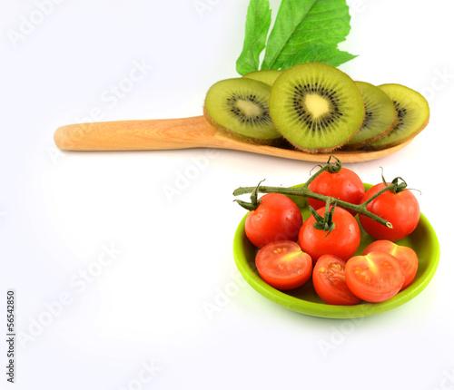 kiwi slice on white