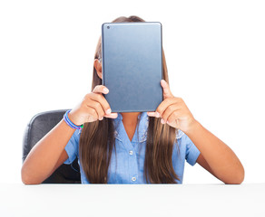 girl doing a video call on a white background