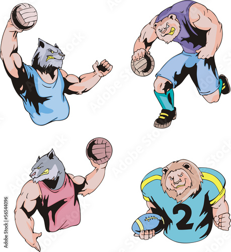 Sport mascots - volleyball and american football