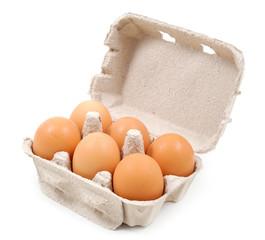 Vaschetta di sei uova dall'alto