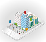 people in the street of a isometric city over smart phone