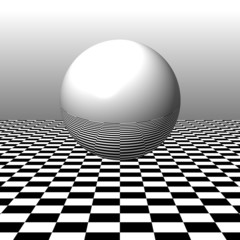 Reflecting Sphere and Checkerboard Pattern