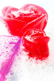 macro of glycerine soap with foam of pink and violet