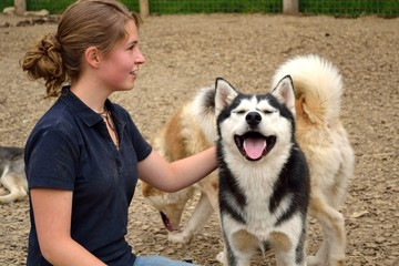 Teenager mit Huskies