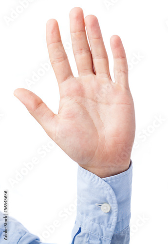 hand gesturing stop symbol on a white background