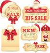 Merry X-mas and New Year sale stickers