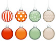 Collection of 8 Retro Christmas Balls