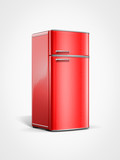 old vintage retro red refrigerator in perspective view