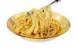 Fettuccine Alfredo Pasta on Fork