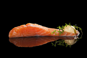 Salmon steak isolated.