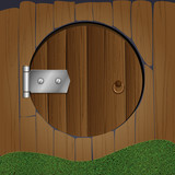 Wooden fence with round door