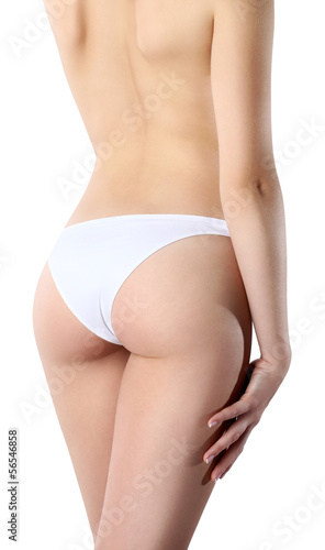 body of woman bottom and back side, Isolated on white background