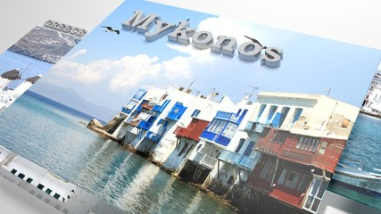 Mykonos places to visit in slideshow like set photos and 3d text