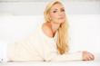 White Sweatshirt Worn by a Blonde