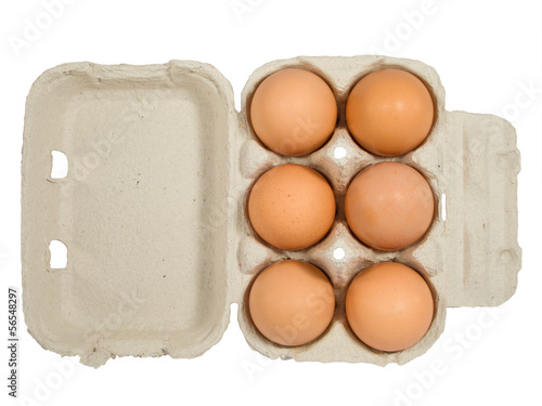 Half dozen fresh eggs in box
