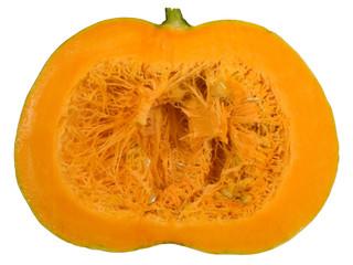 round orange pumpkin cut in half