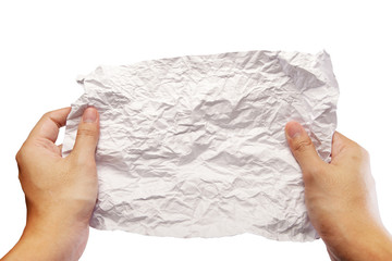 hands unfolded crumpled paperisolate on white background