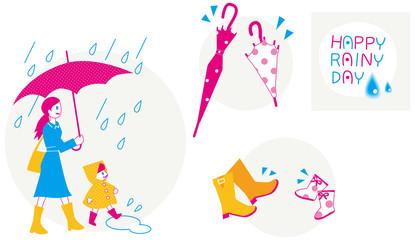 雨のイメージのセット