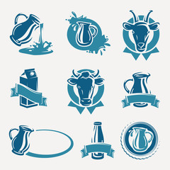 Milk labels and icons set. Vector