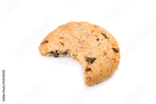 Bitten chocolate chip cookies isolated on white background
