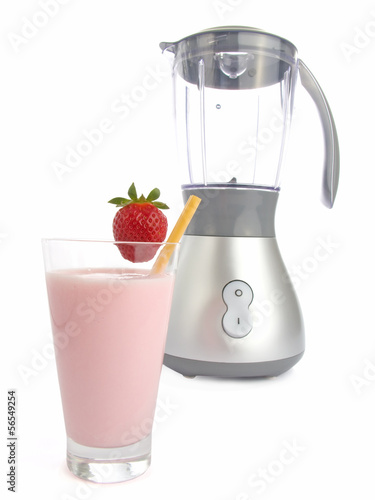 Smoothie made with strawberries isolated on white background.