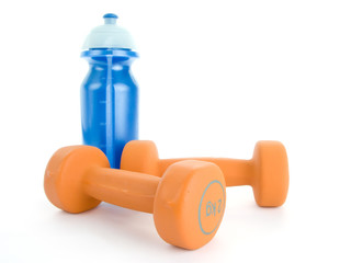 Fitness dumbbell and water bottle isolated on white background
