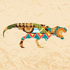 Tyrannosaurus Dinosaur. Composed from coloured patches. Vector