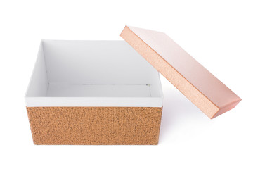 Open decorative box isolated on a white background.