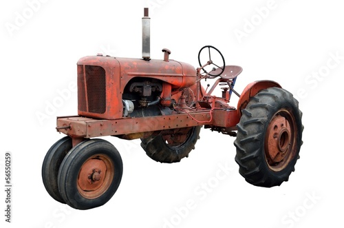 canvas print picture Rustic Old Tractor isolated on white background