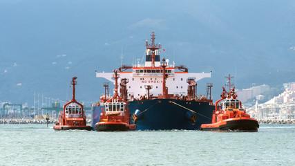 the tanker arrives in port