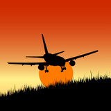 plane and sunset art vector illustration