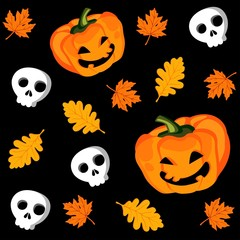 Halloween seamless pattern with pumpkin, vector