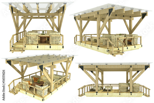 3d model of a wooden pergola on a white background