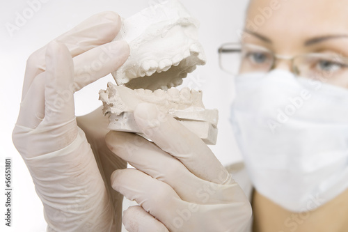 dentist holding denture model, correction of bite
