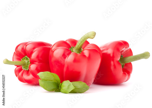 Sweet red pepper and basil leaves still life