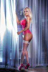 Sexy blonde lady poing in underwear.