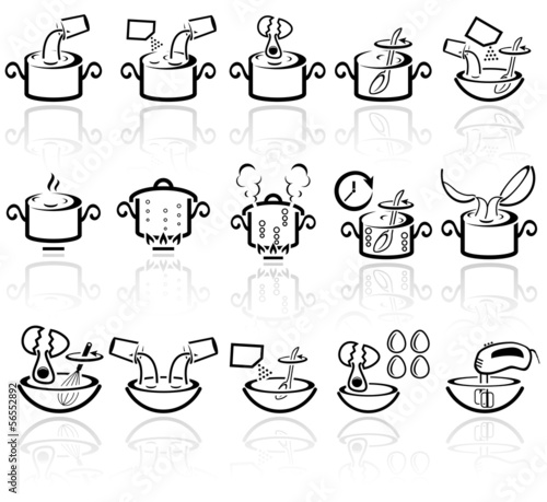 Cooking instruction vector icons set. EPS 10.