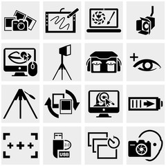 Photo vector icons set on gray
