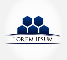 Business logo honeycomb - Blue icon